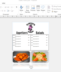 How To Use Microsoft Publisher to Create A Restaurant Menu 14