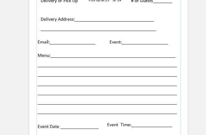 Free Catering Order Form Template - Independent Restaurant Consultants